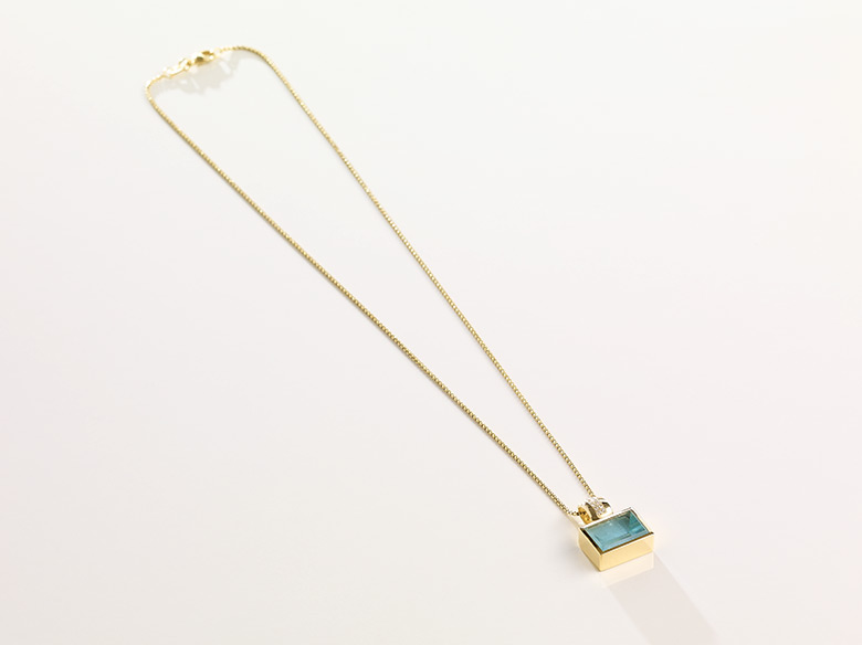 Aquamarinanhänger gold eckig